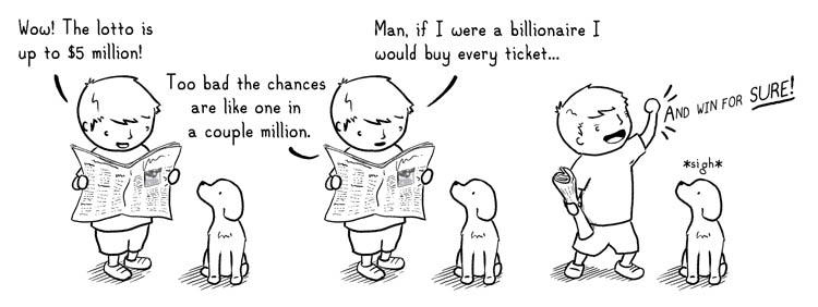 boydog 126 B:Wow! The lotto is up to $5 million! too bad the chances are like one in a couple million.  Man if I were a billionaire I would buy every ticket... AND WIN FOR SURE!