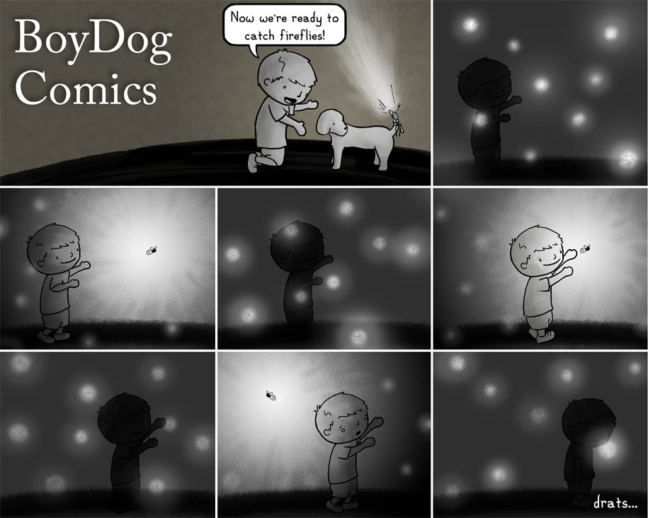boydog142 B: Now we're ready to catch fireflies! [boy tries to catch firefly] drats